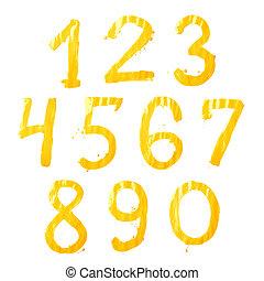 conjunto, de, mano, dibujado, con, el, pintura, dígitos