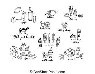 conjunto, de, mano, dibujado, contorno, lechería, products., queso, batido, mantequilla, yogur, requesón, crema agria, postres, cow., vector, ilustración, blanco, fondo.