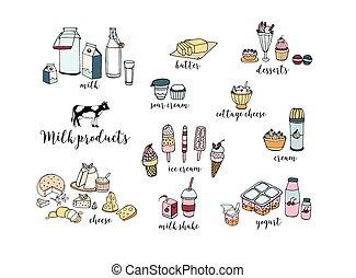 conjunto, de, mano, dibujado, lechería, products., queso, batido, mantequilla, yogur, requesón, crema agria, postres, cow., vector, colorido, ilustración, blanco, fondo.