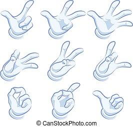 conjunto de mano, guante, gestures.