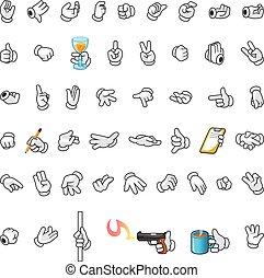 conjunto, de, manos, gesto, caricatura, charac