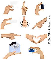 conjunto, de, manos, tenencia, diferente, empresa / negocio, objects., vector, ilustración