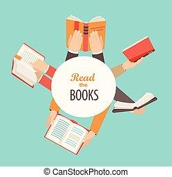 conjunto, de, manos, tenencia, libros