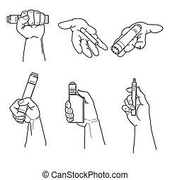 conjunto, de, manos, tenencia, vape, dispositivos, y, cigarette.