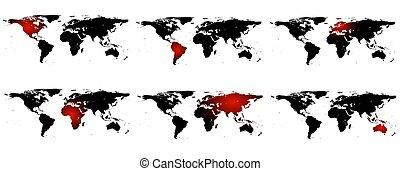 conjunto, de, mapas del mundo