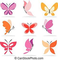 conjunto, de, mariposa, iconos