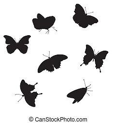 conjunto, de, mariposas
