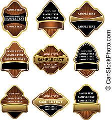 conjunto, de, marrón, y, oro, etiquetas