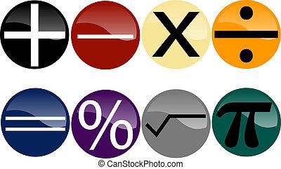 conjunto, de, matemáticas, símbolos, en, multicolor, botones