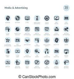 conjunto, de, medios, y, publicidad, iconos