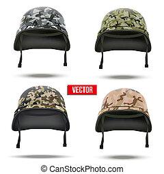 conjunto, de, militar, camuflaje, helmets., vector,...