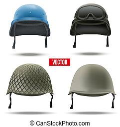 conjunto, de, militar, helmets., vector, illustration.