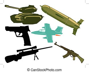 conjunto, de, militar, objetos