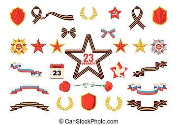 conjunto, de, militar, objetos, relacionado, a, 23, february.
