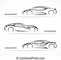 conjunto, de, moderno, coche, siluetas