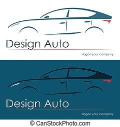 conjunto, de, moderno, diseño, coche, siluetas