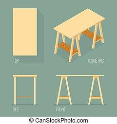 conjunto, de, moderno, oficina, tabla, isométrico, dibujo