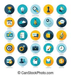 conjunto, de, moderno, plano, diseño, iconos