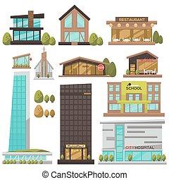 conjunto, de, moderno, urbano, architecture.