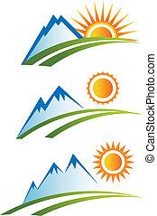 conjunto, de, montaña, con, sol