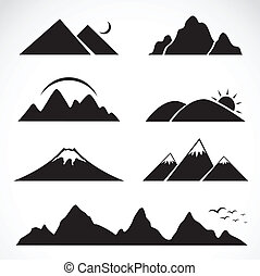 conjunto, de, montaña, iconos