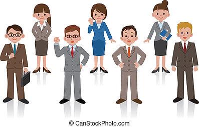 conjunto, de, mujer de negocios, y, empresa / negocio
