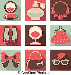conjunto, de, mujer, moda, plano, iconos