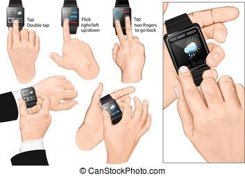 conjunto, de, multi-touch, gestos, para, smart-watch.