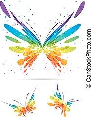 conjunto, de, multicolor, mariposas