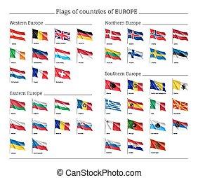 conjunto, de, nacional, banderas, en, flagpole.