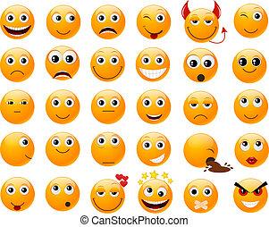 conjunto, de, naranja, sonrisas