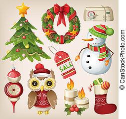 conjunto, de, navidad, artículos