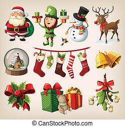 conjunto, de, navidad, caracteres
