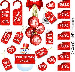 conjunto, de, navidad, etiquetas precio, y, etiquetas