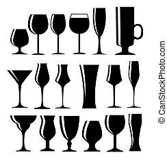 conjunto, de, negro, alcohólico, vidrio, silueta, vector, ilustración