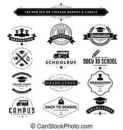 conjunto, de, negro & blanco, vendimia, insignias, y, etiquetas