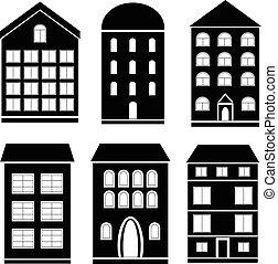 conjunto, de, negro, edificio, iconos
