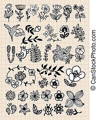 conjunto, de, negro, flor, diseñe elementos