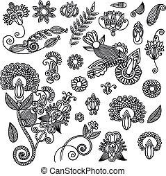 conjunto, de, negro, flor, diseño