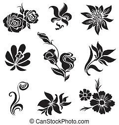 conjunto, de, negro, flor, y, leafs, desig