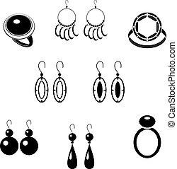 conjunto, de, negro, iconos, con, joyas