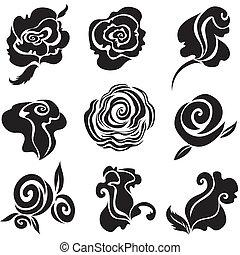 conjunto, de, negro, rosa, flor