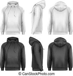 conjunto, de, negro y blanco, macho, hoodies, con, muestra,...