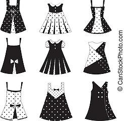 conjunto, de, niño, niña, vestido, iconos