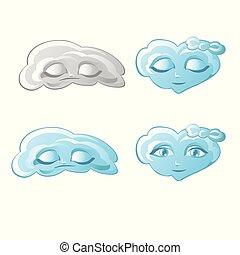 conjunto, de, nubes, en, el, forma, de, humano, caras, aislado, blanco, fondo., vector, caricatura, primer plano, illustration.