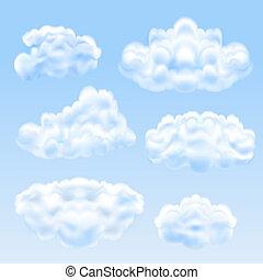 conjunto, de, nubes
