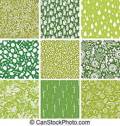 conjunto, de, nueve, ecológico, seamless, patrones, fondos