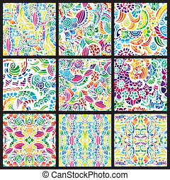 conjunto, de, nueve, hand-drawn, seamless, patrones