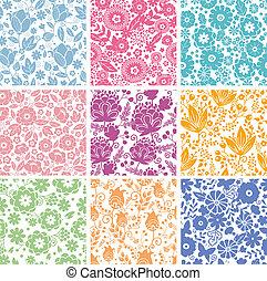 conjunto, de, nueve, resumen, flores, seamless, patrones, fondos