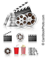 conjunto, de, objetos, para, cinematografía